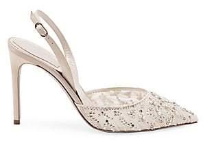 Rene Caovilla Women's Crystal Point Toe Stiletto Slingback Sandals
