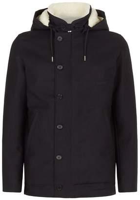 Sandro Hooded Shearling Lined Jacket