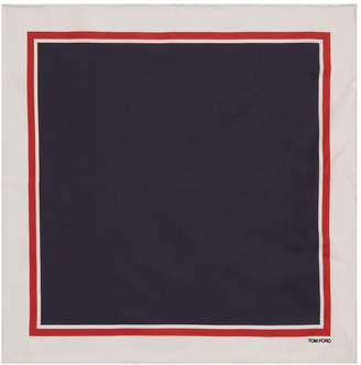 Tom Ford Contrast Border Silk Pocket Square