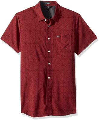 Volcom Men's Geo Print Short Sleeve Woven Button up Shirt