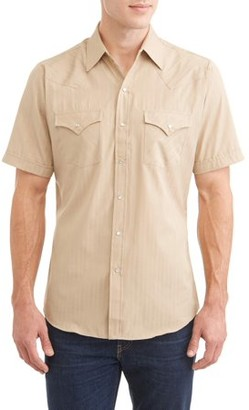 ELY CATTLEMAN Big Mens Short Sleeve Tone On Tone Western