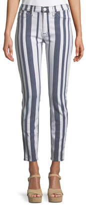 Hudson Barbara High-Waist Super Skinny Ankle Striped Jeans