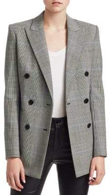 Theory Double Breasted Check Blazer