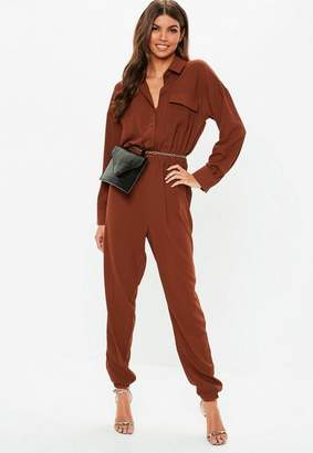 Missguided Chocolate Long Sleeve Utility Romper