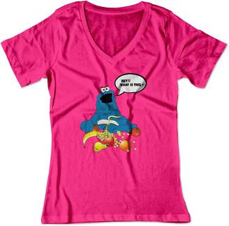cf8685ab6e BSW Women s Cookie Monster What is This V-Neck Shirt MED Raspberry