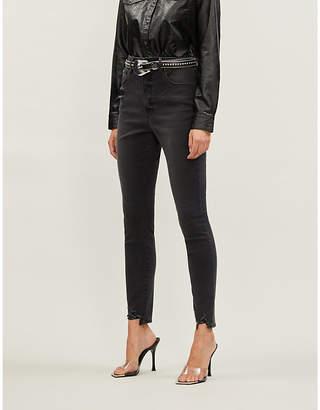 Good American Good Waist frayed-hem skinny high-rise jeans