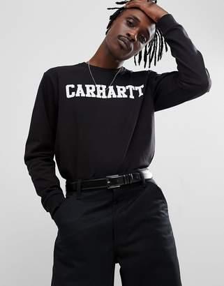 Carhartt WIP Long Sleeve College T-Shirt In Black