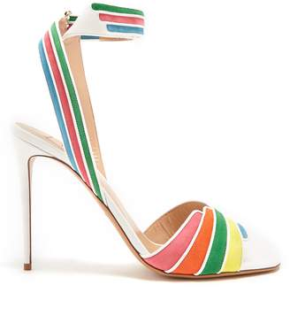 Valentino Striped leather and suede sandals