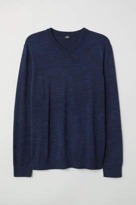 H&M V-neck Cotton Sweater - Blue