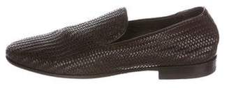 Canali Woven-Leather Smoking Slippers