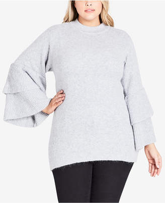 City Chic Trendy Plus Size Tiered-Sleeve Sweater