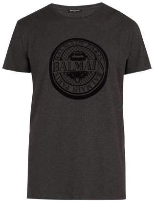 Balmain Cotton Logo T Shirt - Mens - Dark Grey