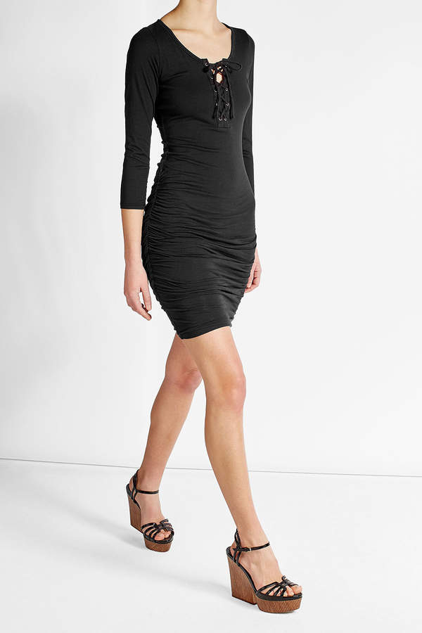 Velvet Cotton Dress with Lace-Up Front