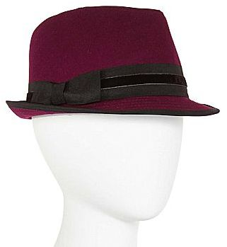 JCPenney Flannel Fedora with Bow