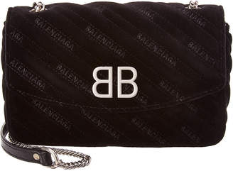 Balenciaga Bb Velvet Quilted Wallet On Chain