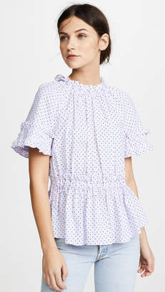 Rebecca Taylor Short Sleeve Dahlia Dot Top