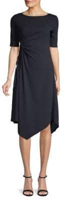 Ellen Tracy Boatneck Ruched-Side Dress
