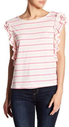 Romeo & Juliet Couture Striped Ruffle Cap Sleeve Tee