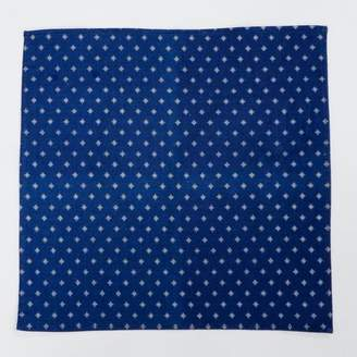 Blade + Blue Indigo Dyed Starburst Print Cotton Pocket Square