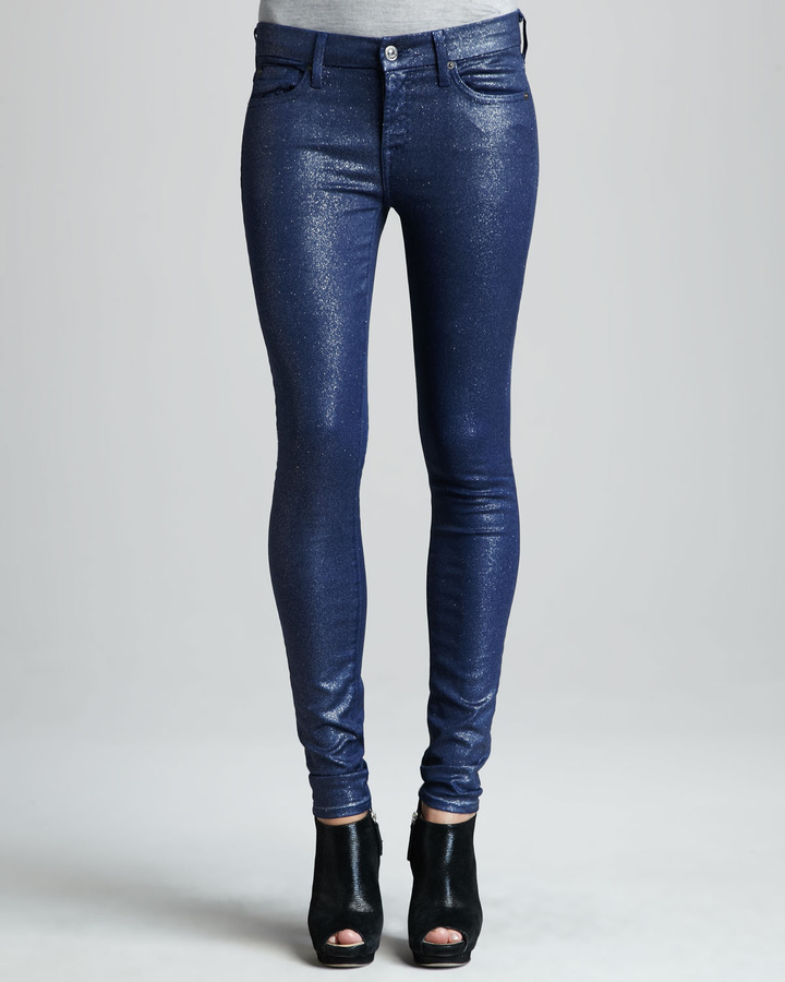 7 For All Mankind Skinny Navy Glitter Jeans