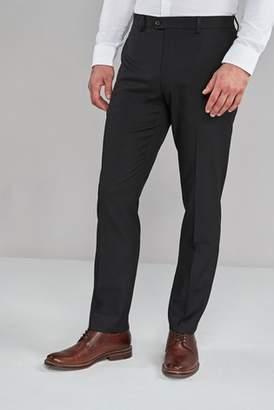 Mens Black Regular Fit Textured Trousers