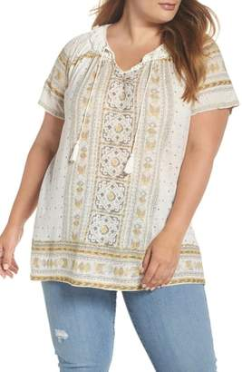 Lucky Brand Tile Print Peasant Top