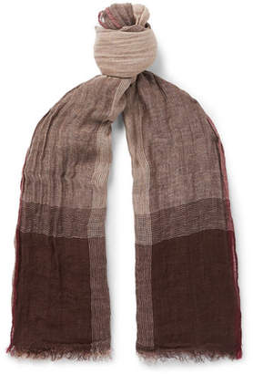 Brunello Cucinelli Checked Washed Linen and Silk-Blend Scarf - Men - Brown