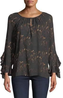 Lee Kobi Halperin Ruffle-Sleeve Blouse in Leopard-Print Silk