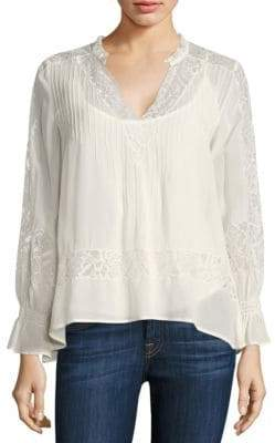 Love Sam Victorian Pleated Lace-Inset Blouse