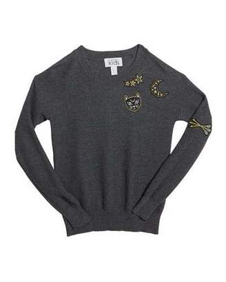 Autumn Cashmere Honeycomb Crewneck Sweater w/ Cat & Moon Patches, Size 8-16