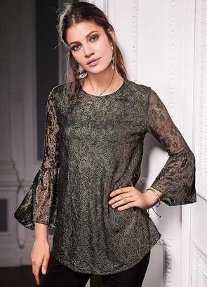 Together Stretch Metallic Lace Top