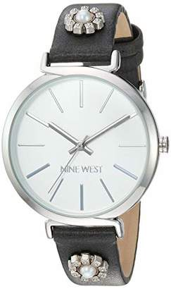 Nine West Women's NW/2203SVGY Silver-Tone and Grey Strap Watch