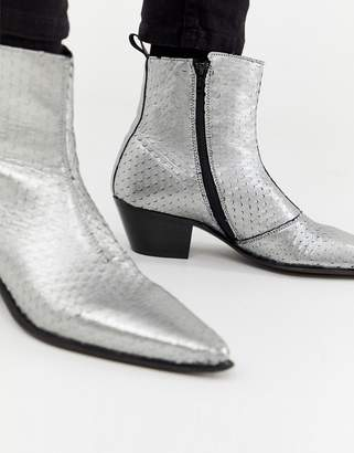 376860391452 Asos Design DESIGN stacked heel western chelsea boots in silver leather