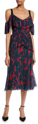 Jason Wu Cold-Shoulder Printed Chiffon Midi Cocktail Dress