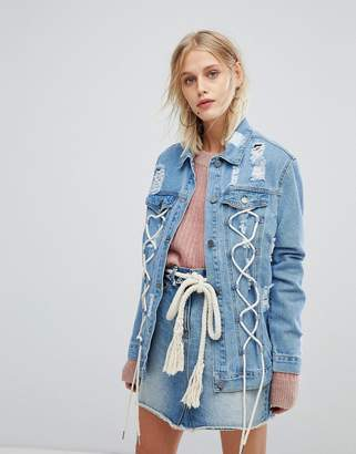 Current Air Distressed Girlfriend Fit Denim Jacket With Lace Up Detail