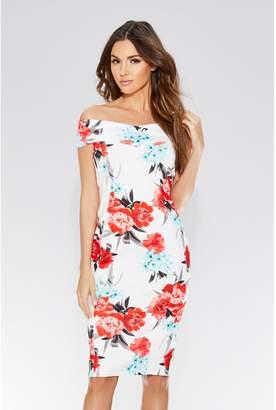 Quiz Cream And Coral Floral Midi Dress