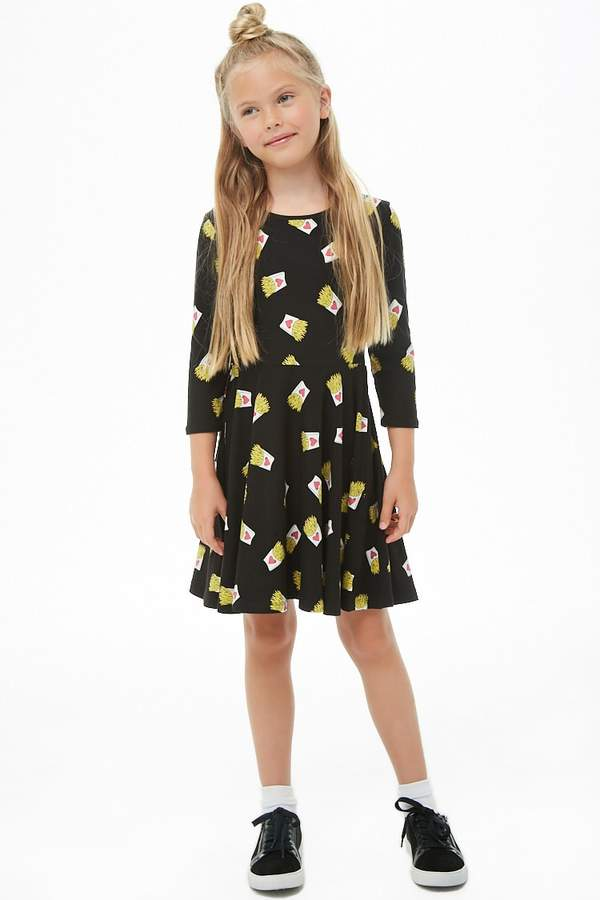 Forever 21 Girls French Fries Print Skater Dress (Kids)