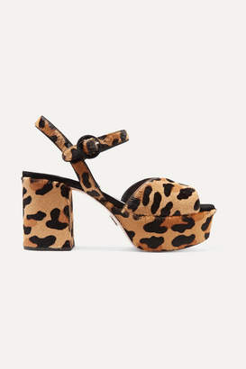 d2e9b81603ef Prada Leopard-print Calf Hair Platform Sandals - Leopard print