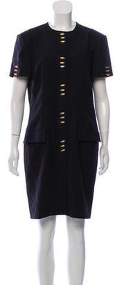 Louis Feraud Virgin Wool Embellished Dress