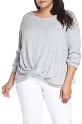 Caslon Twist Front Sweatshirt (Plus Size)