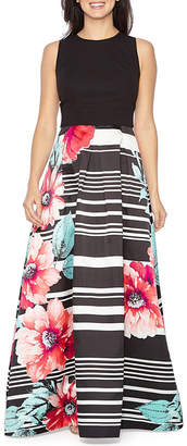 Melrose Sleeveless Floral Stripe Evening Gown