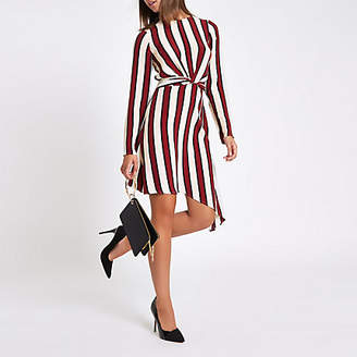 River Island Red stripe wrap front long sleeve midi dress