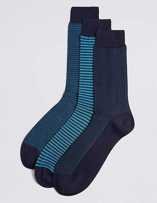 Marks and Spencer 3 Pack Cotton Rich Assorted Socks