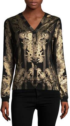 Roberto Cavalli Metallic Wool Cardigan