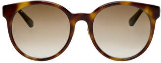 Gucci Tortoiseshell Round Striped Sunglasses