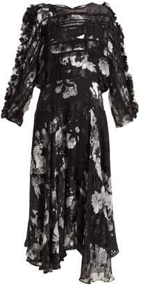 Ermin floral-print silk-blend devoré dress