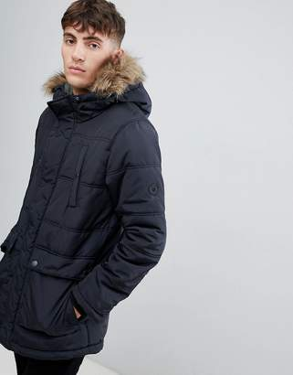 Esprit parka with faux fur hood in black