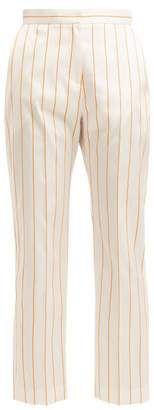 Maison Rabih Kayrouz Mid Rise Cropped Striped Trousers - Womens - White Multi