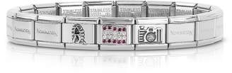 Nomination Classic Austria Sterling Silver and Stainless Steel Bracelet w/Cubic Zirconia Flag