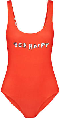 Ganni Profilic Printed Swimsuit - Red